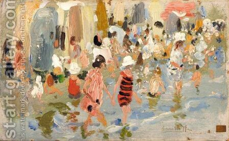 Ninos En La Playa (Children On The Beach) by Cecilio Pla - Reproduction Oil Painting