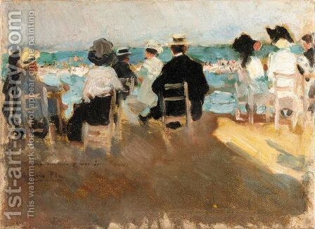 Dia De Playa (A Day At The Beach) by Cecilio Pla - Reproduction Oil Painting