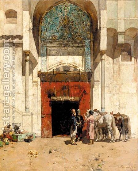 An Ottoman Portico by Alberto Pasini - Reproduction Oil Painting
