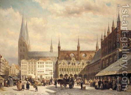 View Of Lubeck Market by Cornelis Springer - Reproduction Oil Painting