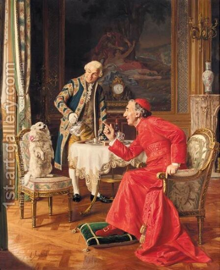 The Lunch Guest by Andrea Landini - Reproduction Oil Painting