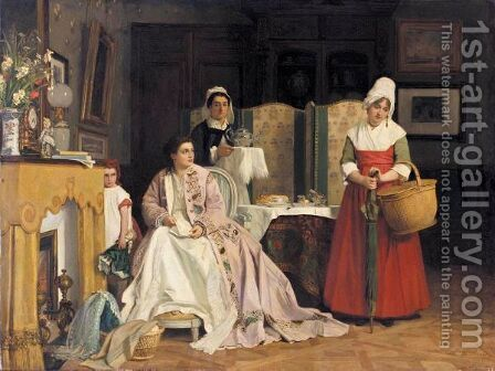 La Nouvelle Bonne by Charles Baugniet - Reproduction Oil Painting