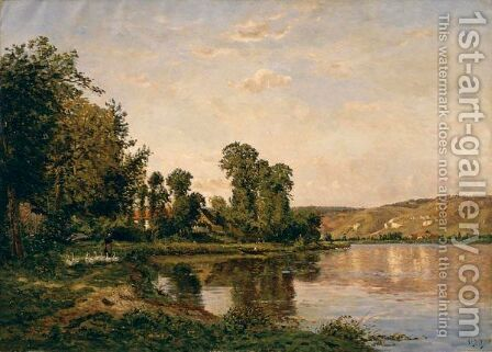 La Riviere A Pont Sur Yonne by Hippolyte Camille Delpy - Reproduction Oil Painting