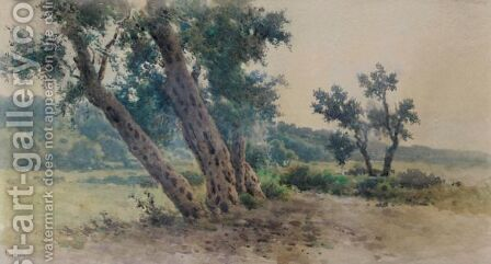 Olive Trees by Angelos Giallina - Reproduction Oil Painting
