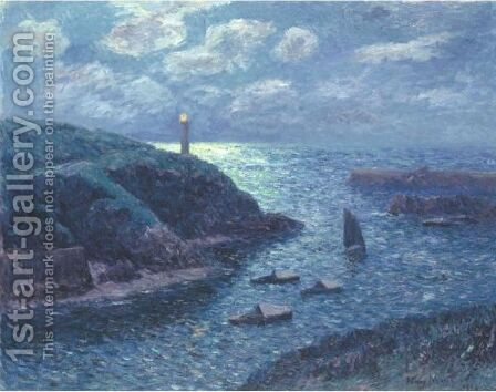 Le Port De Doelan Effet De Nuit by Henri Moret - Reproduction Oil Painting
