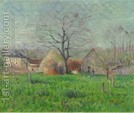 Prairie A L'Entree D'Un Village by Gustave Loiseau - Reproduction Oil Painting