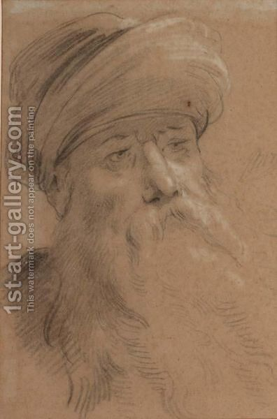 Head Study Of An Old Man Wearing A Turban by Jacob de Wit - Reproduction Oil Painting