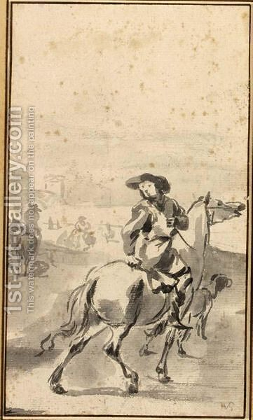 Sketch Of A Woman Riding by Hendrick Verschuring - Reproduction Oil Painting