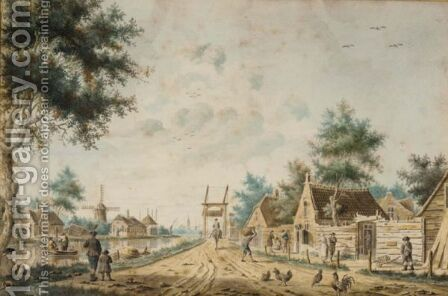 A Canal-Side Road In A Provincial Dutch Town by Dutch School - Reproduction Oil Painting