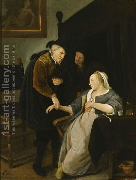 A Doctor Feeling The Pulse Of A Young Lady In An Interior, With An Old Woman Looking Onwards by (after) Jan Steen - Reproduction Oil Painting