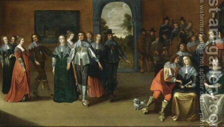 An Interior With Elegant Ladies And Gentlemen Dancing And An Orchestra Playing Music In The Background, A View Of A Garden Through A Door Beyond by Hieronymus Janssens - Reproduction Oil Painting