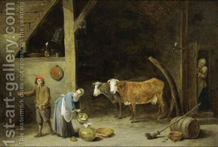 A Barn Interior With A Peasant Woman Pouring Milk Into A Jug And A Peasant Man Standing Nearby, With Cattle In The Background, An Old Woman Peeking Through A Door And An Owl Sitting On A Stick Near The Door by David The Younger Teniers - Reproduction Oil Painting