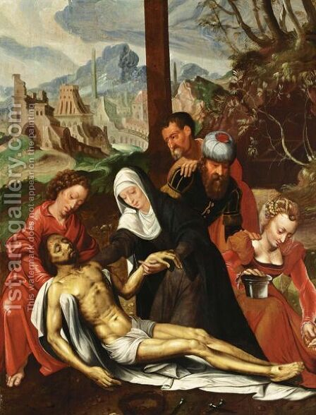 The Lamentation Of Christ With The Virgin Mary, Saint John The Baptist, Mary Magdalene, Joseph Of Arimathaea And Nicodemus by (after) Ambrosius Benson - Reproduction Oil Painting