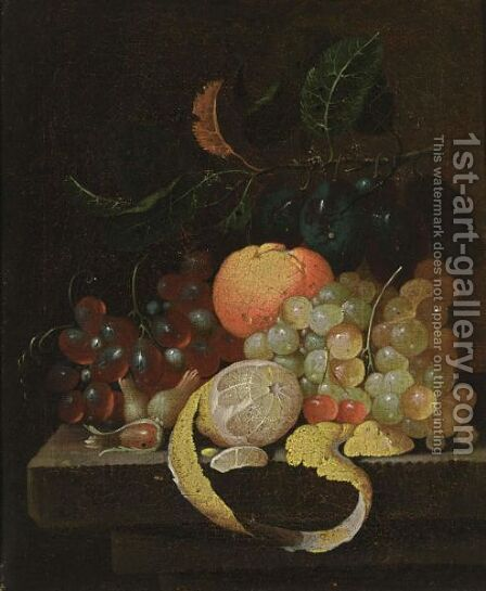 A Still Life With Grapes, Prunes, An Orange, Cherries, A Lemon And Hazelnuts, All On A Stone Ledge by J. Bourginon - Reproduction Oil Painting