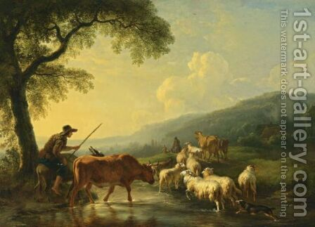An Extensive Hilly Landscape With Shepherds And Their Herd Of Cows, Sheep, Goats And Donkeys Fording A Stream At Sunset by Balthasar Paul Ommeganck - Reproduction Oil Painting