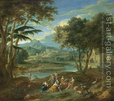 A Classical Landscape With Figures Making Music In The Foreground And Fishermen Near A Stream, A Village In The Background by (after) Pieter Rijsbraeck - Reproduction Oil Painting