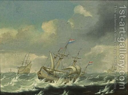 A Small Cargoship And Men'-O-War In Stormy Waters by Jacob Van Der Croos - Reproduction Oil Painting