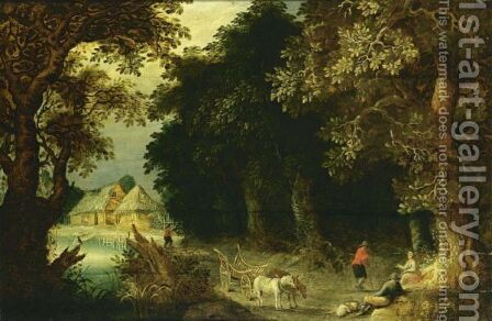 A Wooded Landscape With Travellers Resting Near A Tree, With A Horse-Drawn Wagon On A Path Near A Stream And Farmhouses Beyond by (after) Abraham Govaerts - Reproduction Oil Painting