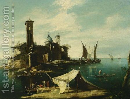 A Capriccio Of A Venetian Lagoon With Fishermen In Gondolas In The Foreground And A Fortified Island With A Church And Campaniles Nearby by (after) Francesco Guardi - Reproduction Oil Painting