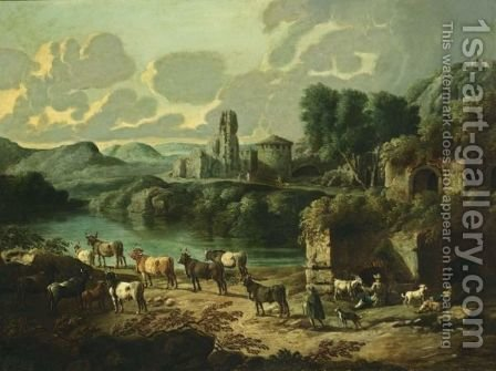 An Italianate River Landscape With Shepherds And Their Flock Resting, The Ruins Of A Town Beyond by Cajetan Roos - Reproduction Oil Painting