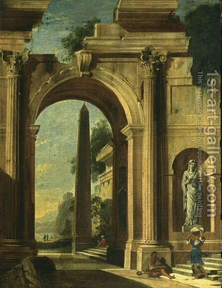 An Architectural Capriccio Of A Classical Building With An Obelisk, With A Beggar And A Washerwoman On The Stairs And A View Of A Temple Beyond by (after) Niccolo Codazzi - Reproduction Oil Painting