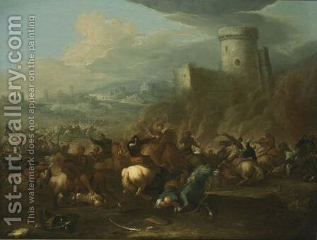 A Cavalry Battle Scene Between Turkish And Christian Troops, With A View Of A Town Beyond by (after) Rugendas, Georg Philipp I - Reproduction Oil Painting