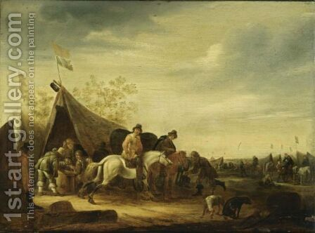 An Encampment With Soldiers Near A Tent And Horsemen Nearby, Other Soldiers And Cavalry In The Background by Abraham van der Hoef - Reproduction Oil Painting