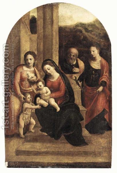The Holy Family With Saint Agnes, Saint John The Baptist And Saint Agatha by (after) Garofalo - Reproduction Oil Painting