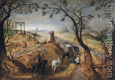A Wooded Landscape With Farmhands And Cattle by (after) Sebastiaen Vrancx - Reproduction Oil Painting