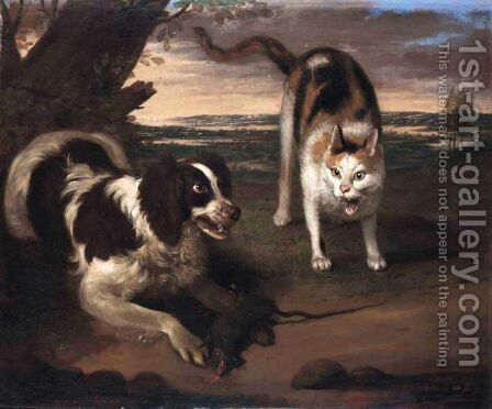 Landscape With A Dog And A Cat Fighting by Adriaen Cornelisz. Beeldemaker - Reproduction Oil Painting