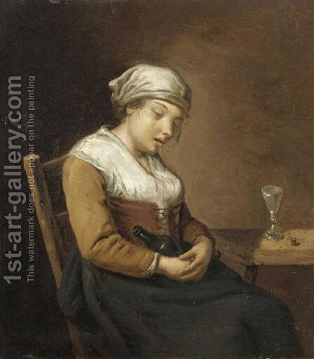 Interior With A Drunken Lady Seated Holding A Bottle, Beside A Wooden Table by Dutch School - Reproduction Oil Painting