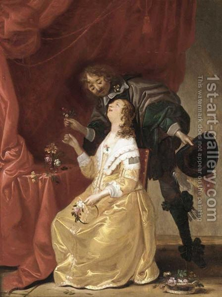 Interior With A Cavalier Giving A Lady Flowers by (after) Pieter Jansz. Quast - Reproduction Oil Painting