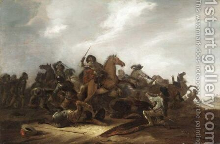 A Cavalry Battle Scene In A Landscape by Jacob Mathias Weyer - Reproduction Oil Painting