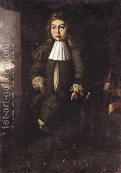 Portrait Of A Young Man, Full Length, Wearing A Dark Green Costume, A White Shirt And A Sword. by Dutch School - Reproduction Oil Painting