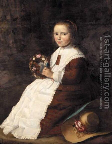 Portrait Of A Young Girl, Full Length, Seated In A Landscape, Wearing A Brown Dress And Holding A Garland Of Flowers by Hendrick Van Vliet - Reproduction Oil Painting