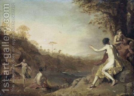 Landscape With Nudes Bathing by (after) Dirck Van Der B Lisse - Reproduction Oil Painting