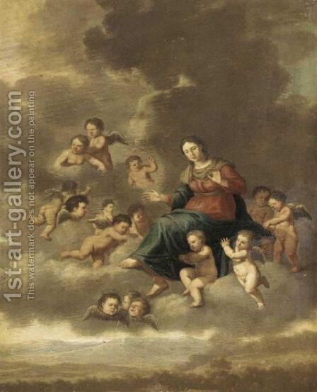 The Assumption Of The Virgin by (after) Cornelis Van Poelenburch - Reproduction Oil Painting
