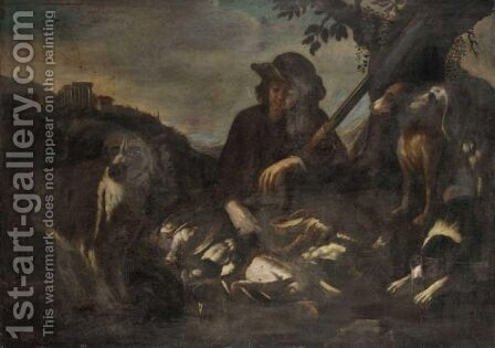 A Hunter In A Open Landscape With His Dogs And A Dead Game, A View Of Tivoli In The Background by (after) Philipp Peter Roos - Reproduction Oil Painting