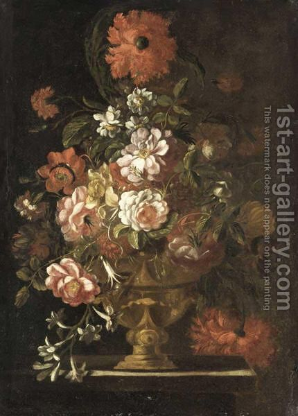 A Still Life Of Various Flowers In Vase Resting On A Ledge by Italian School - Reproduction Oil Painting
