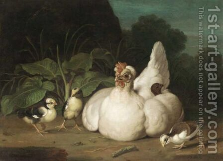 A Hen And Chicks In A Landscape by Jacob Samuel Beck - Reproduction Oil Painting