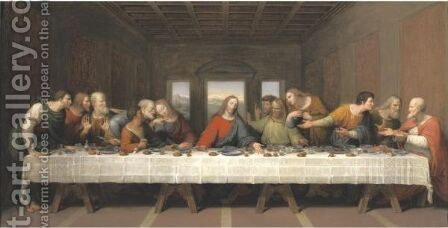 19th Century The Last Supper, After Leonardo Da Vinci by Continental School - Reproduction Oil Painting
