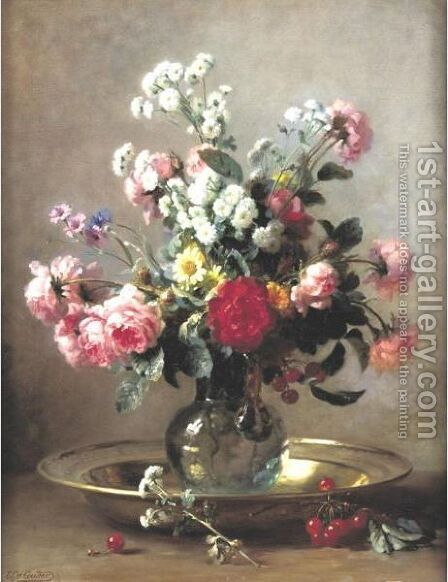 Sill Life With Flowers And Cherries by Gustave-Emile Couder - Reproduction Oil Painting