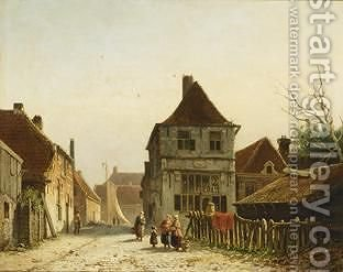 Conversing Women In The Streets Of A Dutch Town by Adrianus Eversen - Reproduction Oil Painting