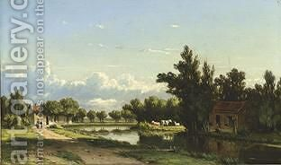 A Sunlit River Landscape by Jacob Jan van der Maaten - Reproduction Oil Painting
