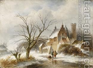 A Winter Landscape With Figures On A Frozen Waterway by Jan Evert Morel - Reproduction Oil Painting
