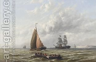 Shipping In A Calm 2 by Hermanus Jr. Koekkoek - Reproduction Oil Painting