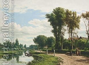 A Summer Landscape With Figures Walking Along A Waterway by Jacob Jan van der Maaten - Reproduction Oil Painting
