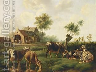 Cows In A Summer Landscape, Peasants In The Background by Albertus Verhoesen - Reproduction Oil Painting