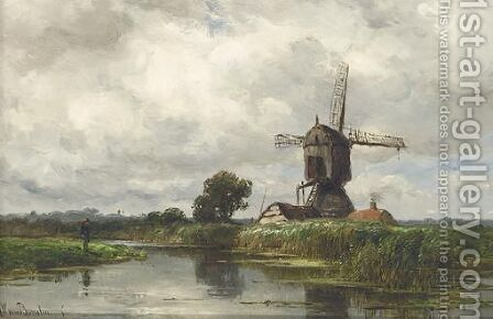 An Angler Near A Wind Mill by Jan Willem Van Borselen - Reproduction Oil Painting