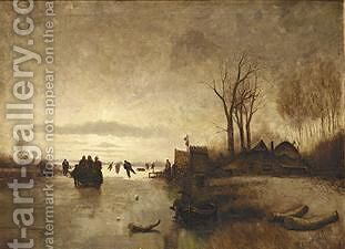A Winter Landscape With Skaters Near A  A'Koek En Zopie A' by Jan Evert Morel - Reproduction Oil Painting